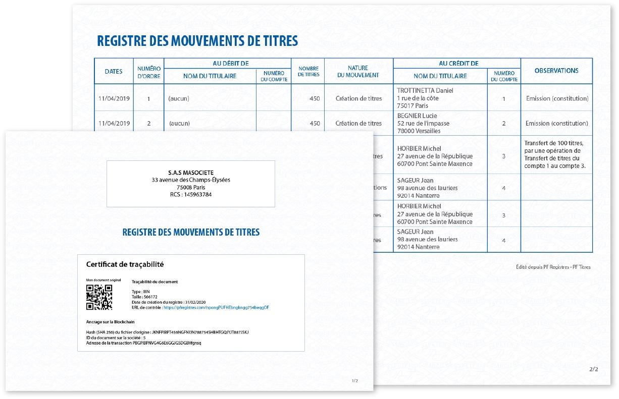 Capture d'écran d'un registre des mouvements de titres publié sur la Blockchain
