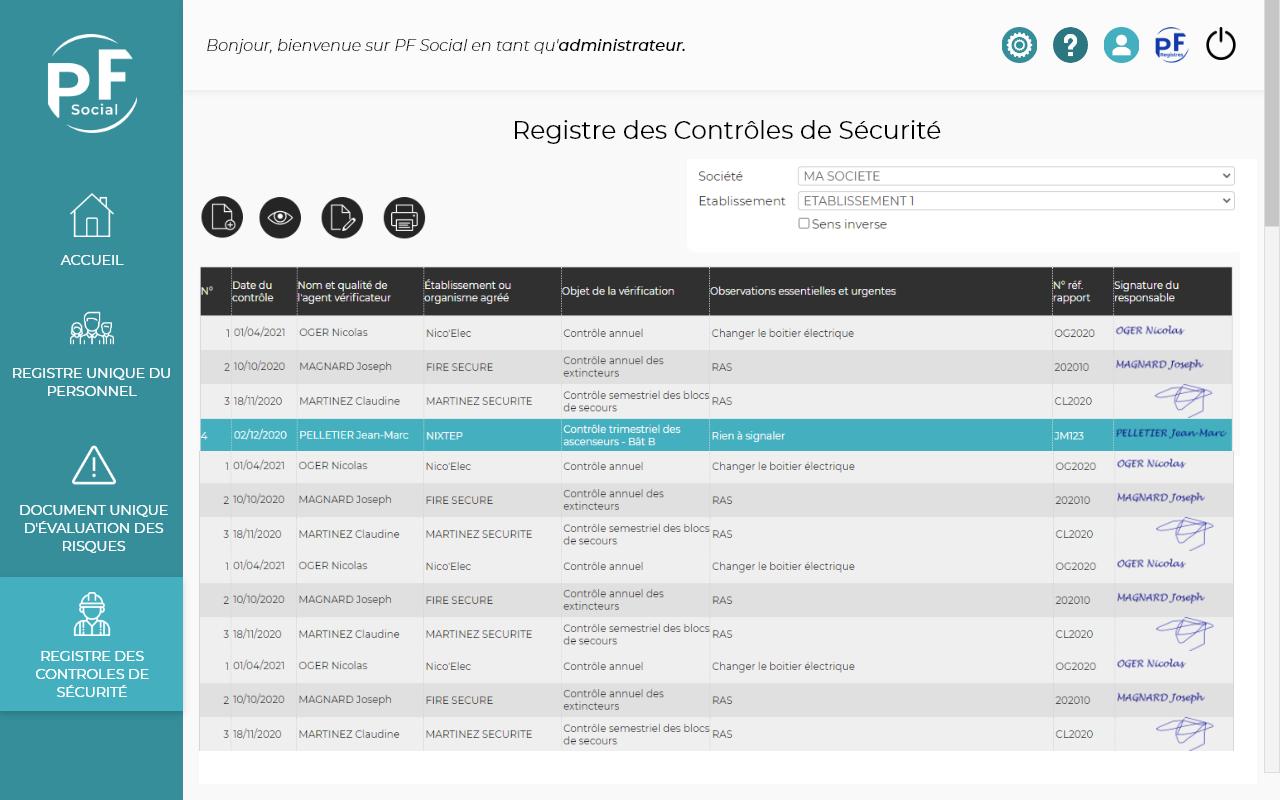 Capture d'écran du Registre des contrôleurs de sécurité sur PF Social