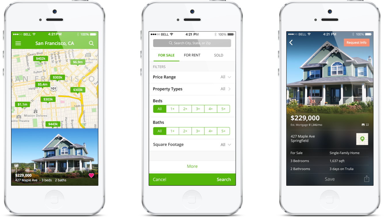 Trulia iOS 7 App redesign to update look and feel to match new flat design guidelines and search issues