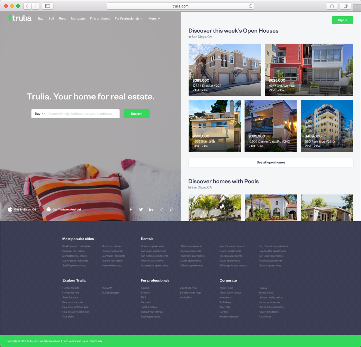 Trulia homepage redesign to cater towards first time homebuyers and improve lead generation
