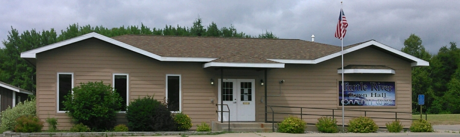 Exterior photo of the front of the Turtle River Town Hall and Community Center