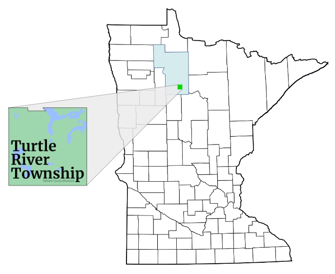 Map showing location of Turtle River Township in Beltrami County, Minnesota