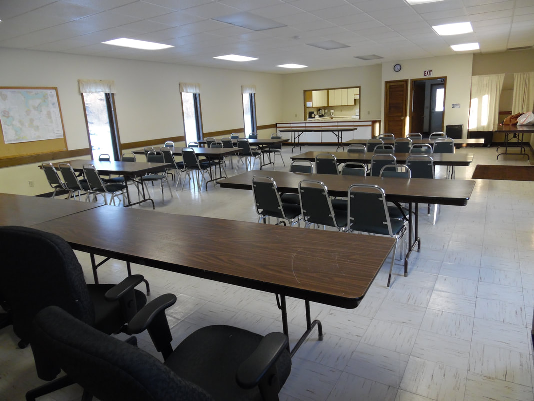 Turtle River Town Hall and Community Center interior with tables