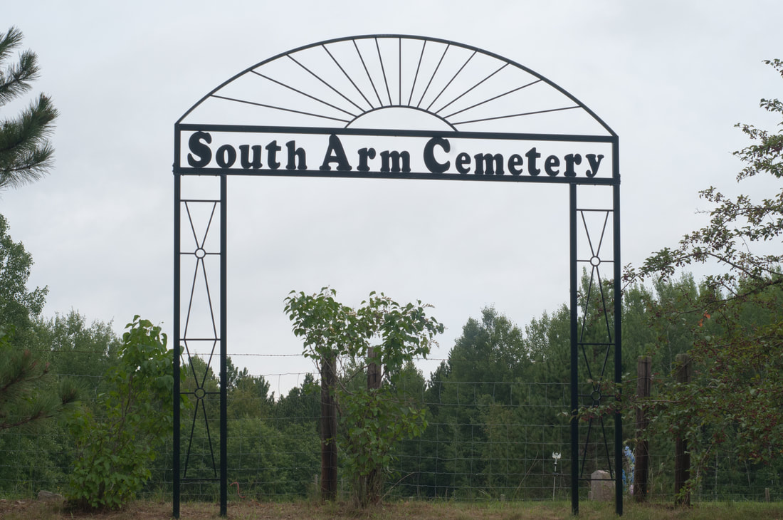 Entry gate at South Arm Cemetery in Turtle River Township