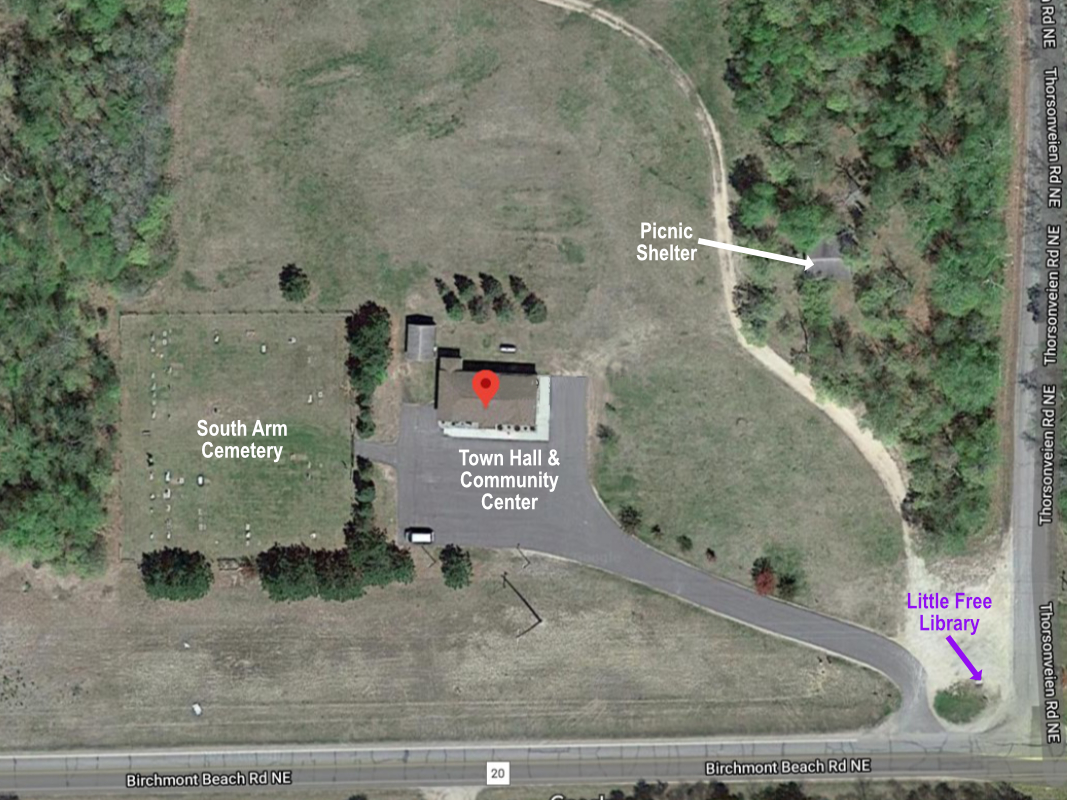 Labeled satellite view of the town hall and cemetery property.