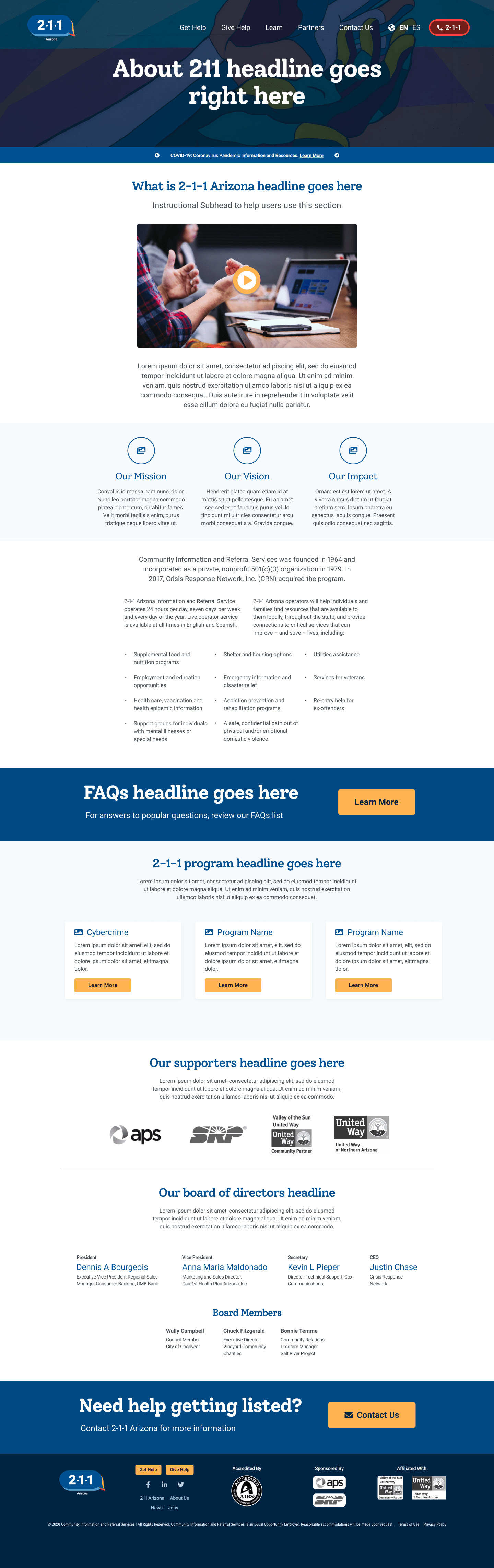 An image of the 211 Arizona about page redesign