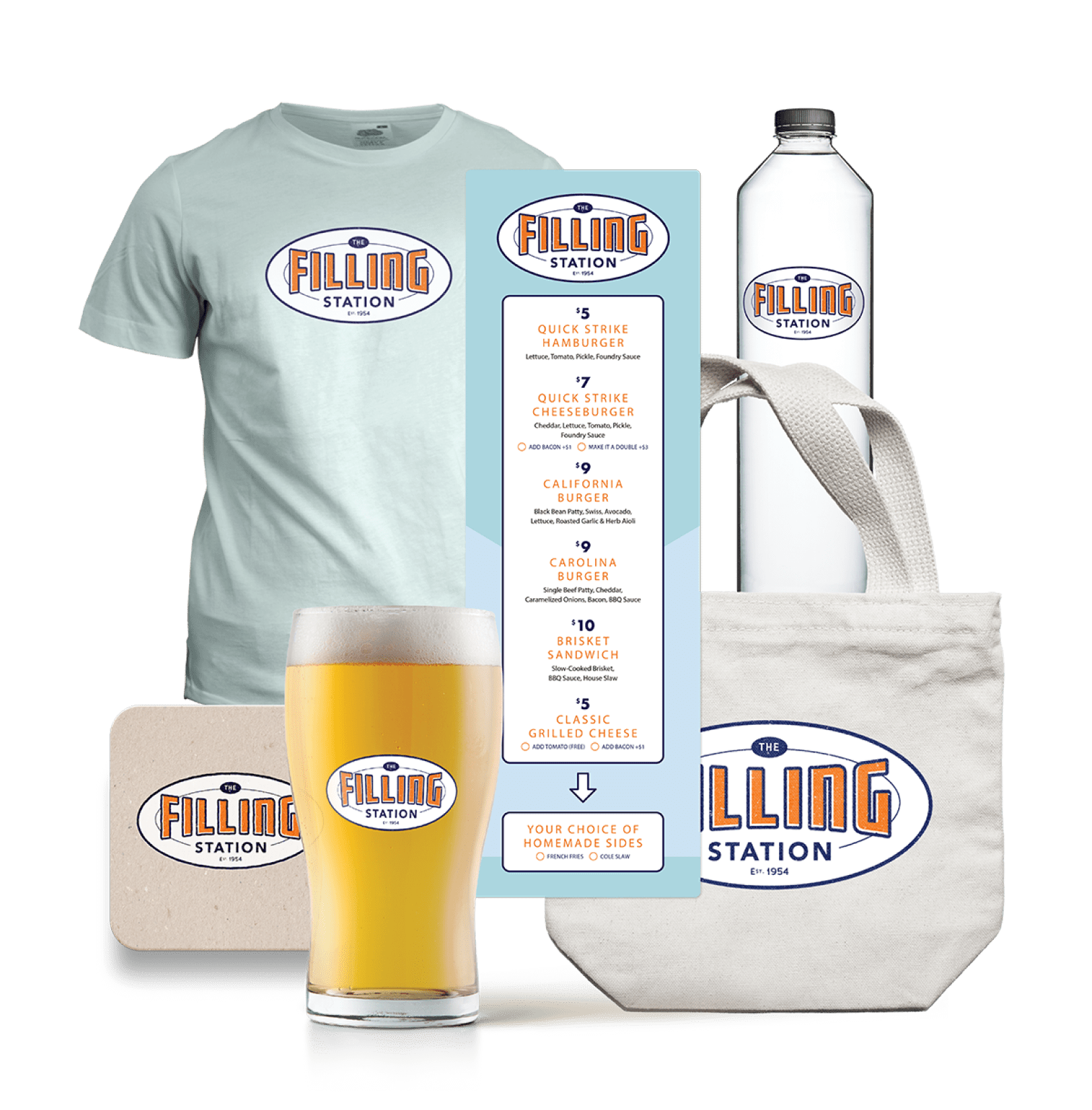 An image of the logo and branded merchandise for The Filling Station.