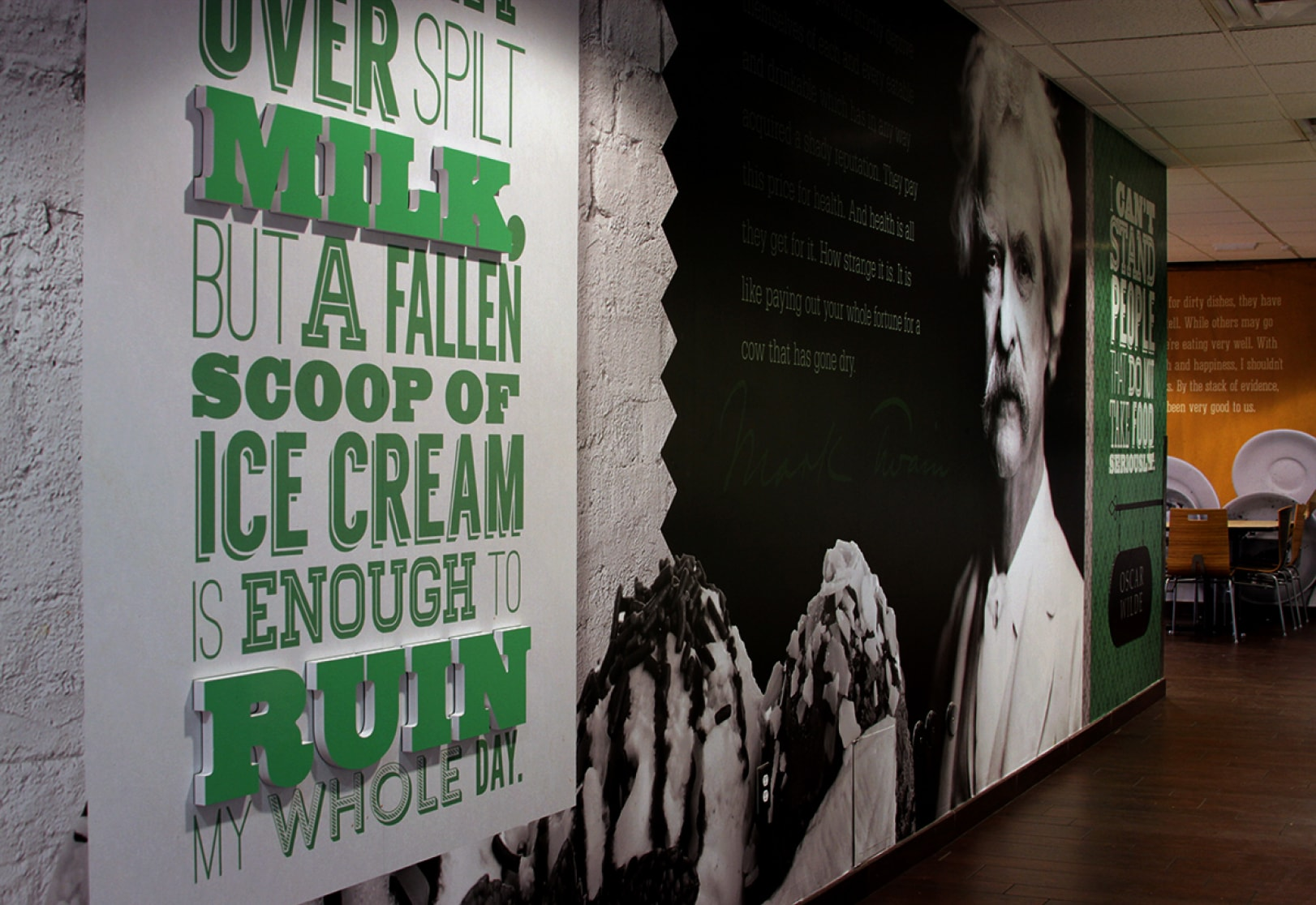 An image of one wall decorated with custom graphic inside the Student Union of Grand Canyon University.