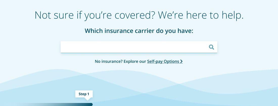 An image of step 1 in the insurance verification process for the Good Eyes website.