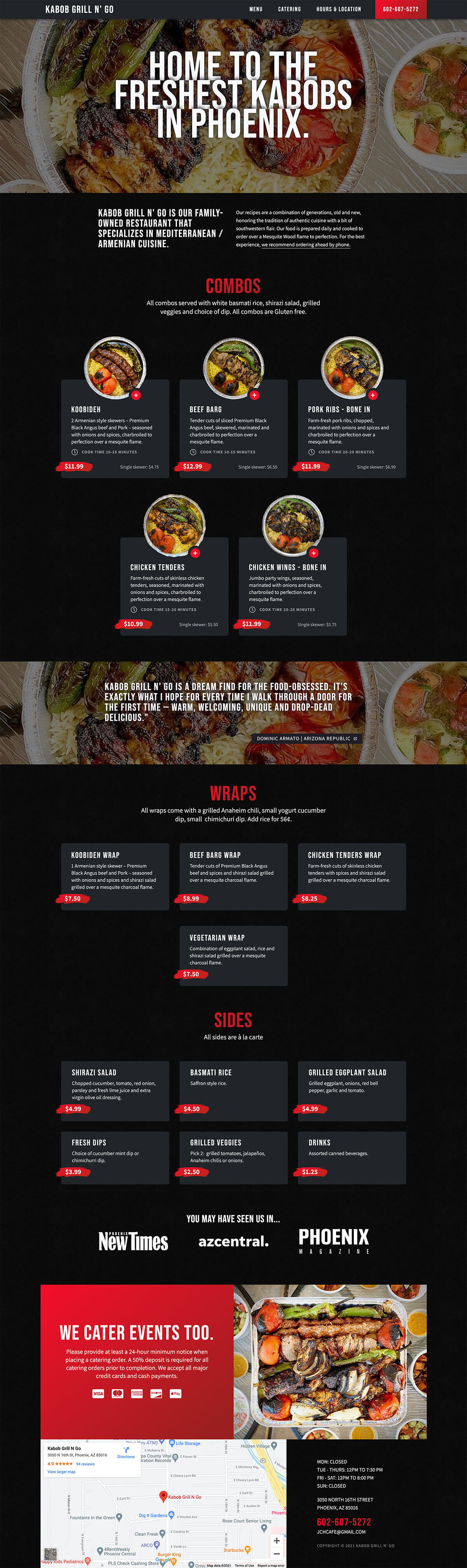 An image displaying the homepage for Kabob Grill N' Go