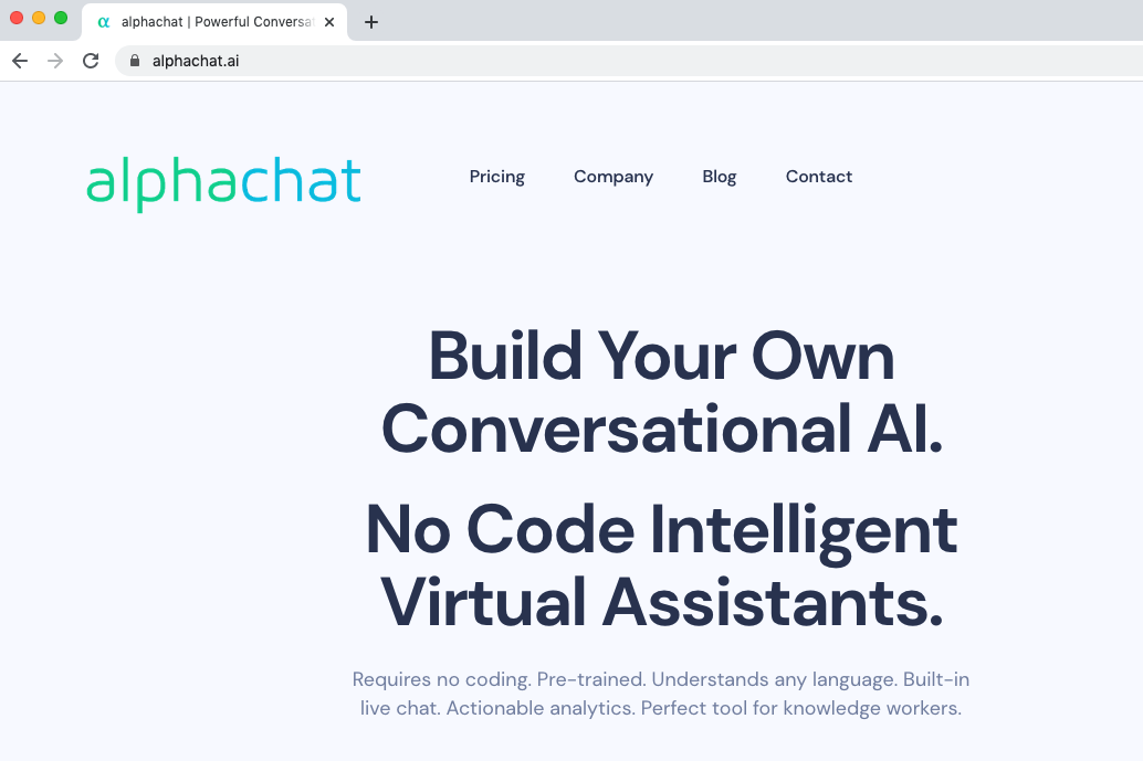Sign up for Alphachat.ai no code machine learning platform.