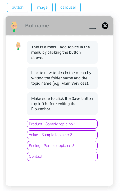 Menu provides quick navigation links to topics in the IVA.