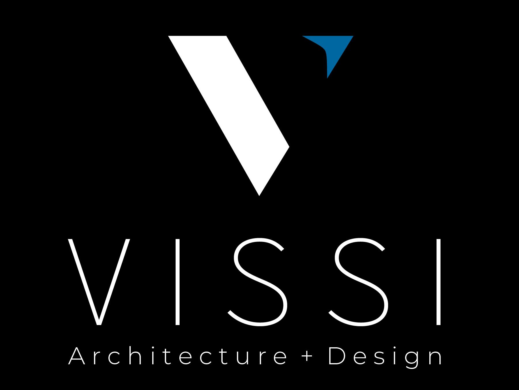 VISSI logo, white and blue V with black background.