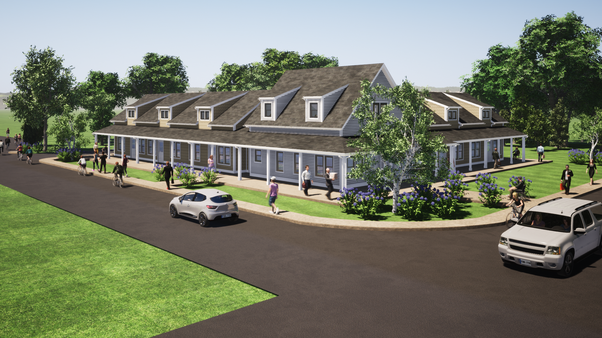 Rendering of a senior living community. A grey house-like building with a street with people walking out front.