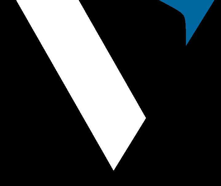 VISSI logo, white letter V with blue arrow.