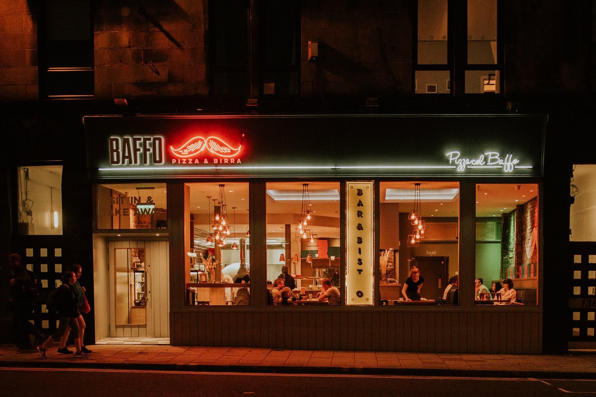 |Baffo Pizza Glasgow|Baffo Pizza Glasgow Outside Shopfront|Baffo Pizza Glasgow Pizza and Beer|Baffo Pizza Glasgow Sharing Pizza