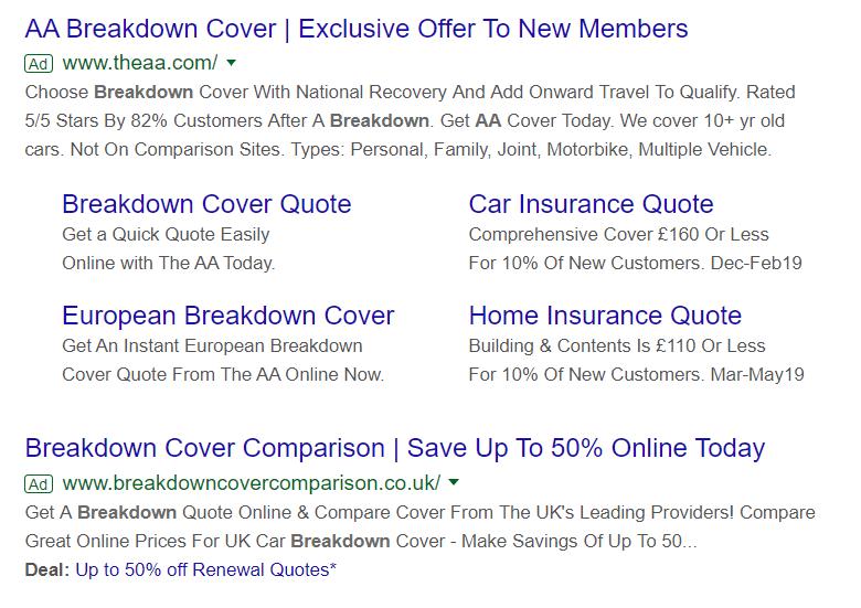Google Search Ad Example AA Breakdown