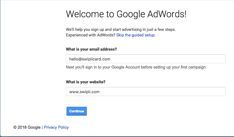 adwords sign up how to
