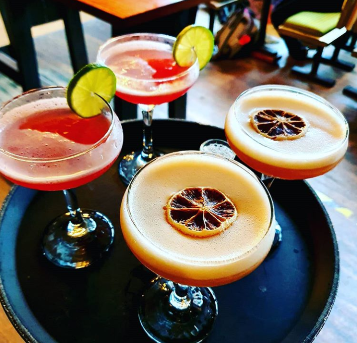 cocktails on a tray in The Bungo make great gifts in glasgow