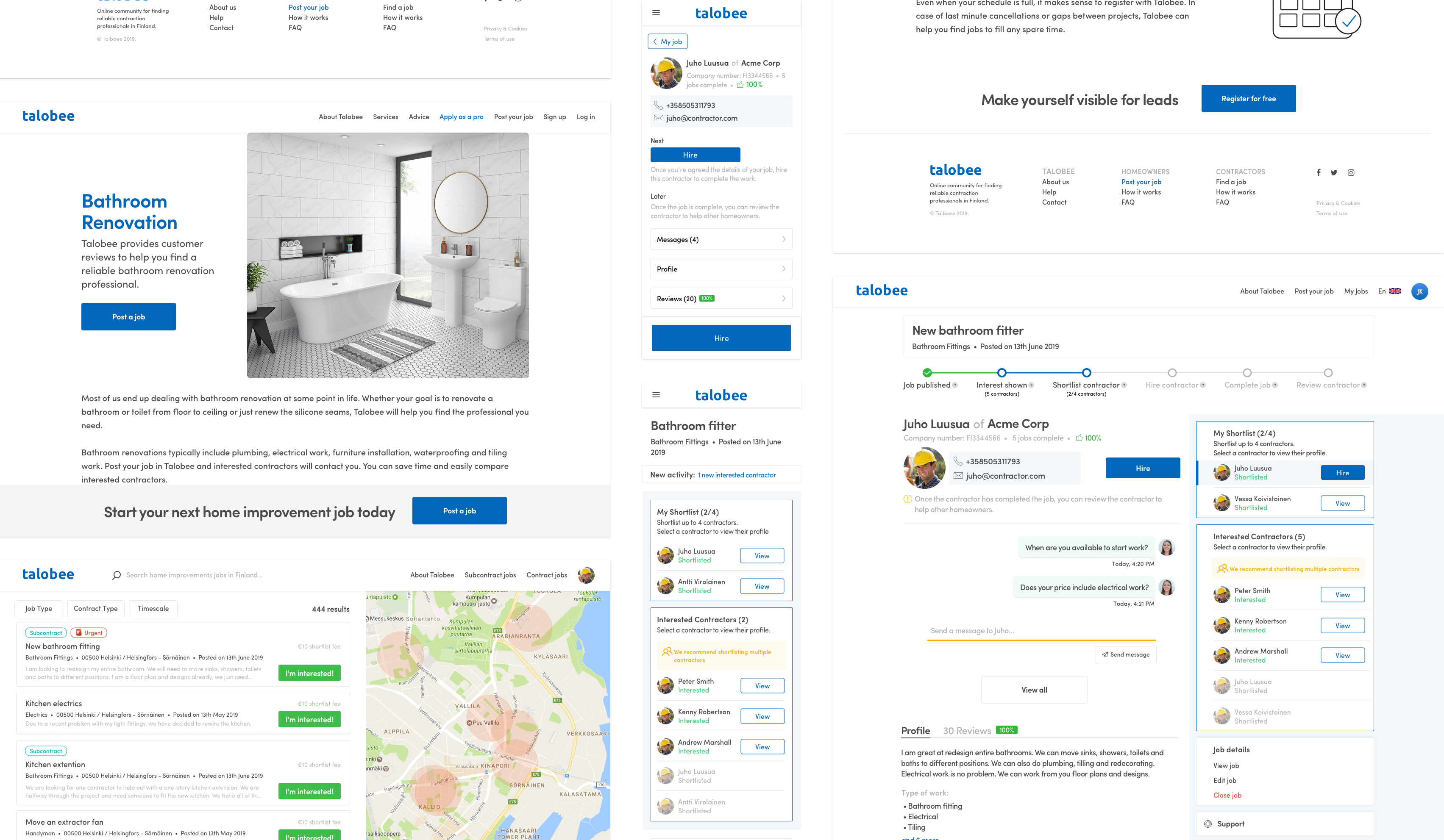 A range of Talobee wireframes for desktop and mobile