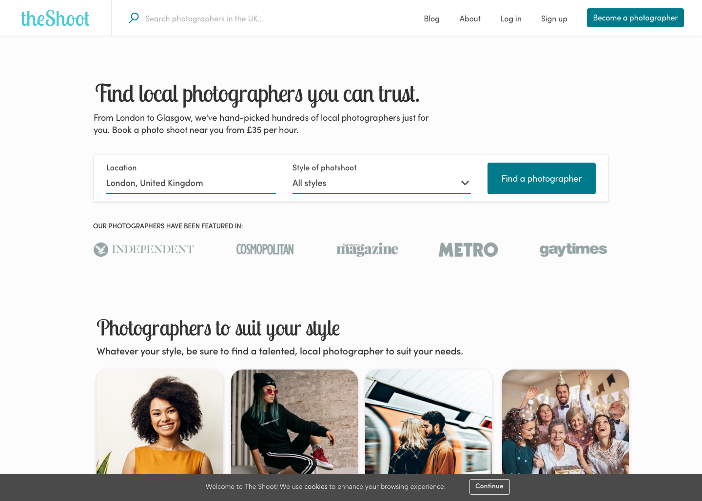 The Shoot homepage page