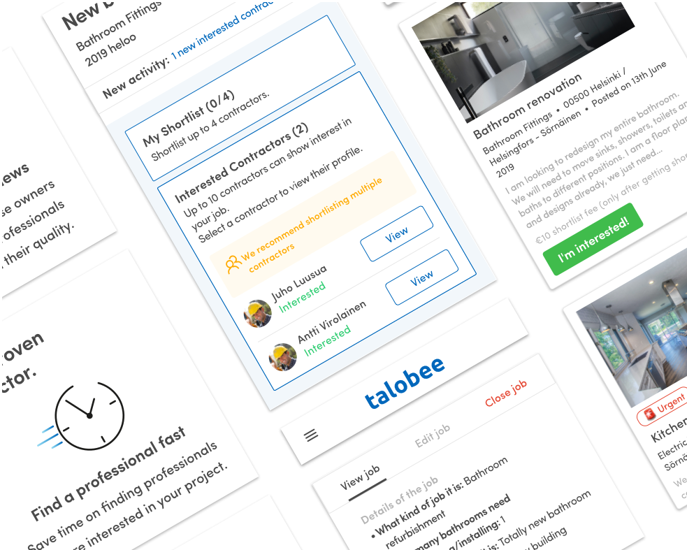 Talobee wireframes - case study cover