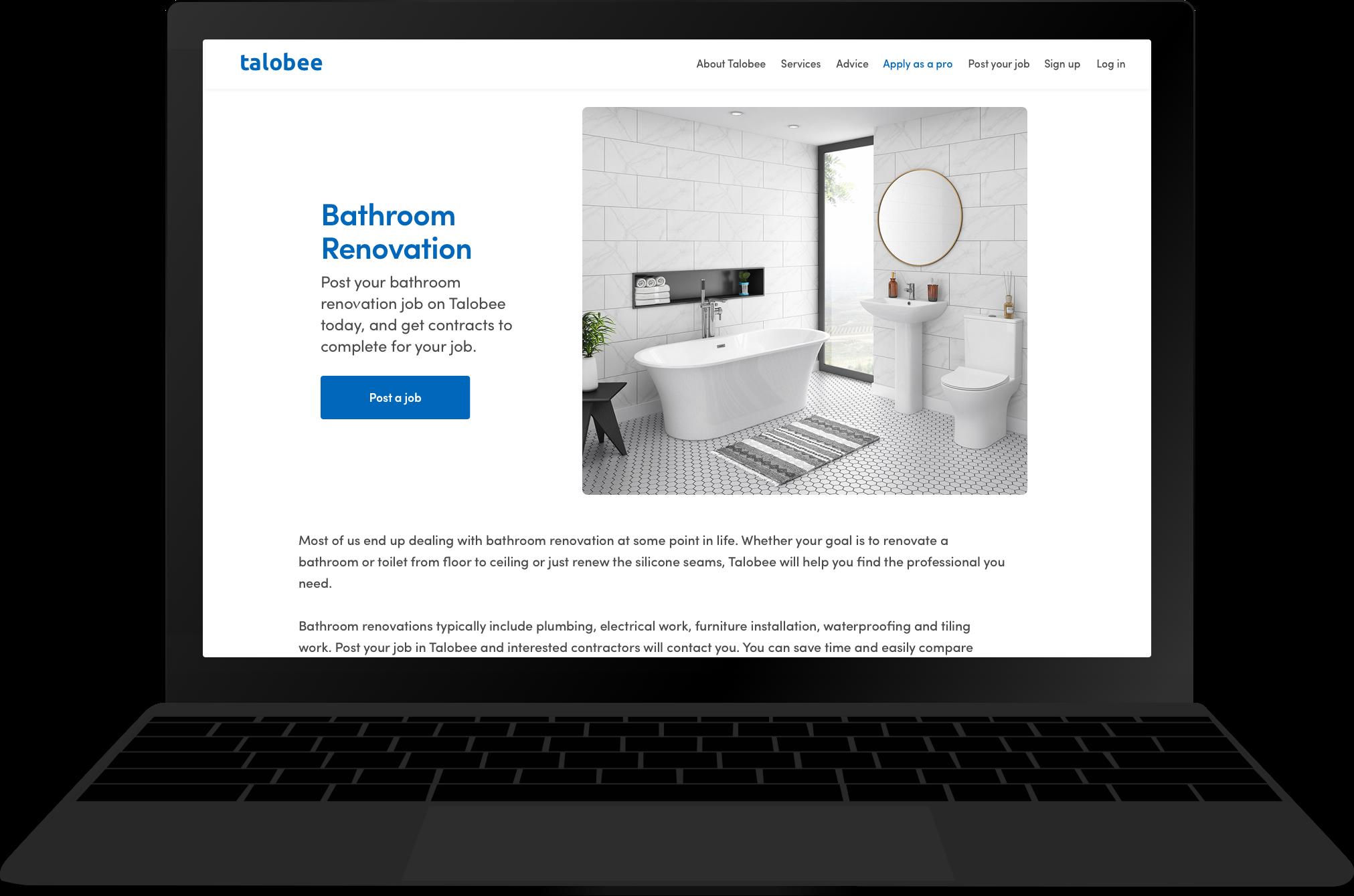 Mockup of the Talobee website on a macbook screen