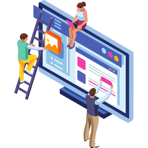 Illustration of people physically building a website.
