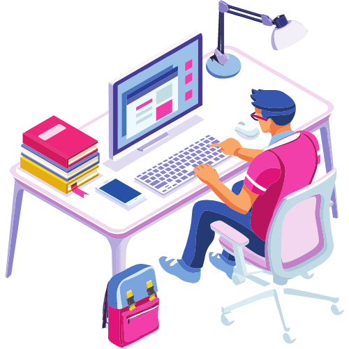 Illustration of a man at a desk with a computer and books