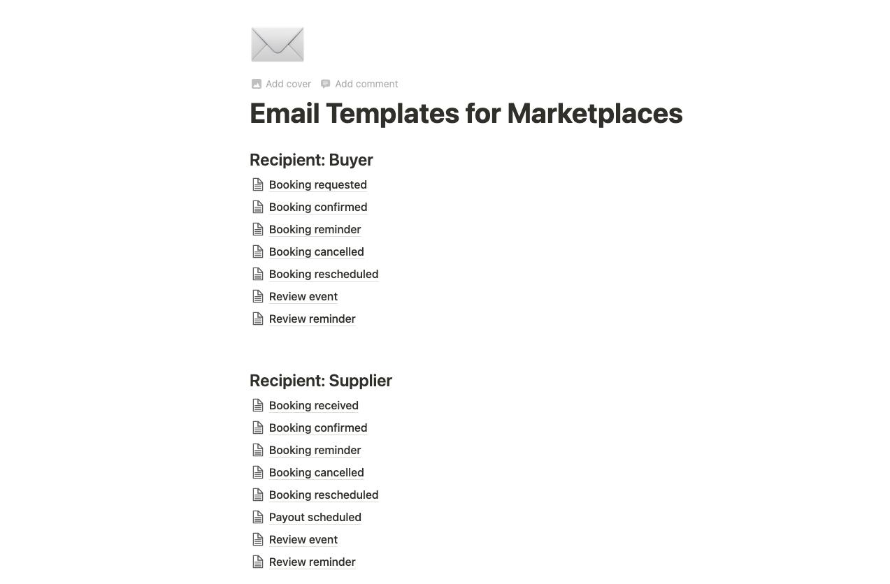 Screenshot of Airtable template