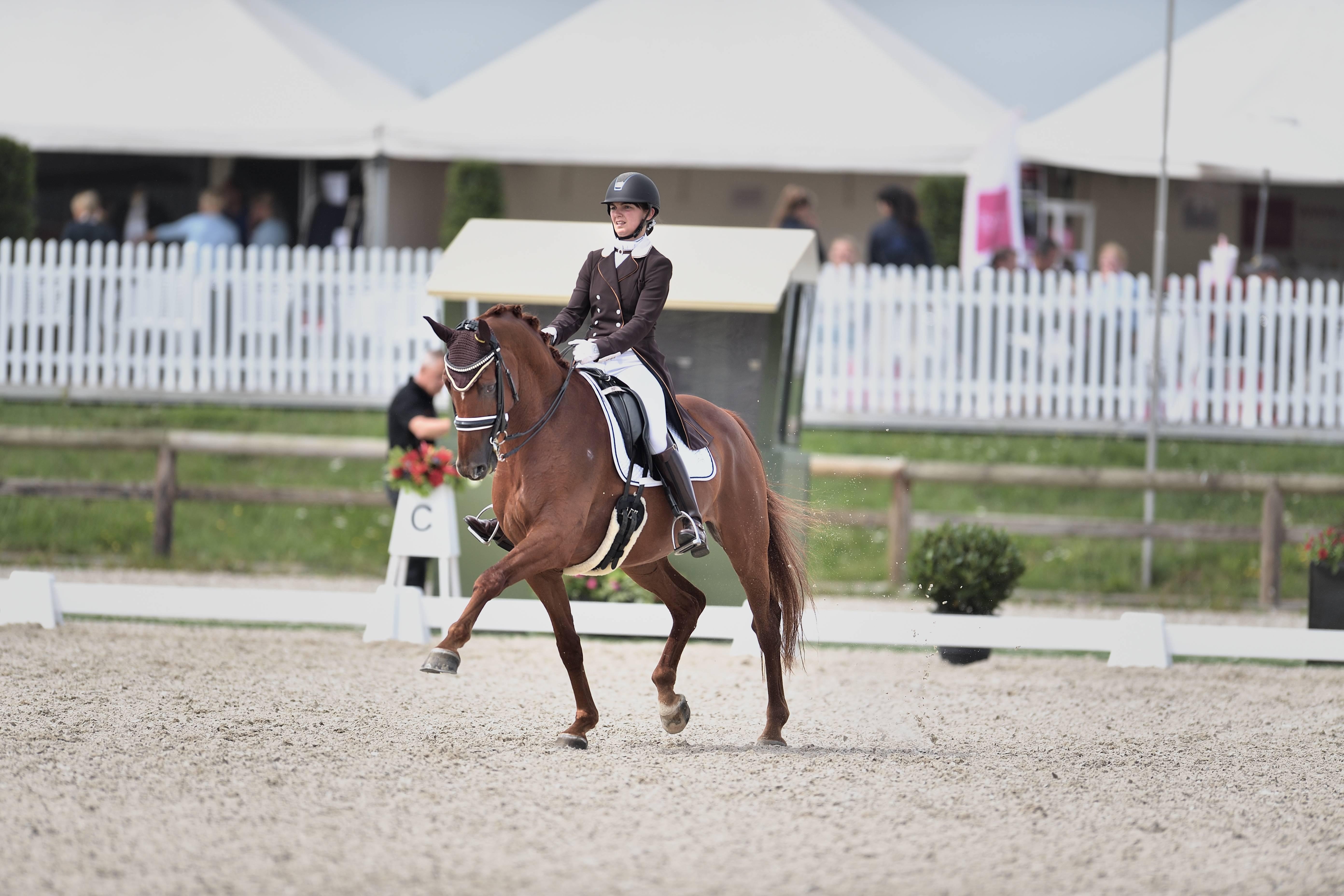 Céline Schelstraete en haar paard Limited Edition op wedstrijd