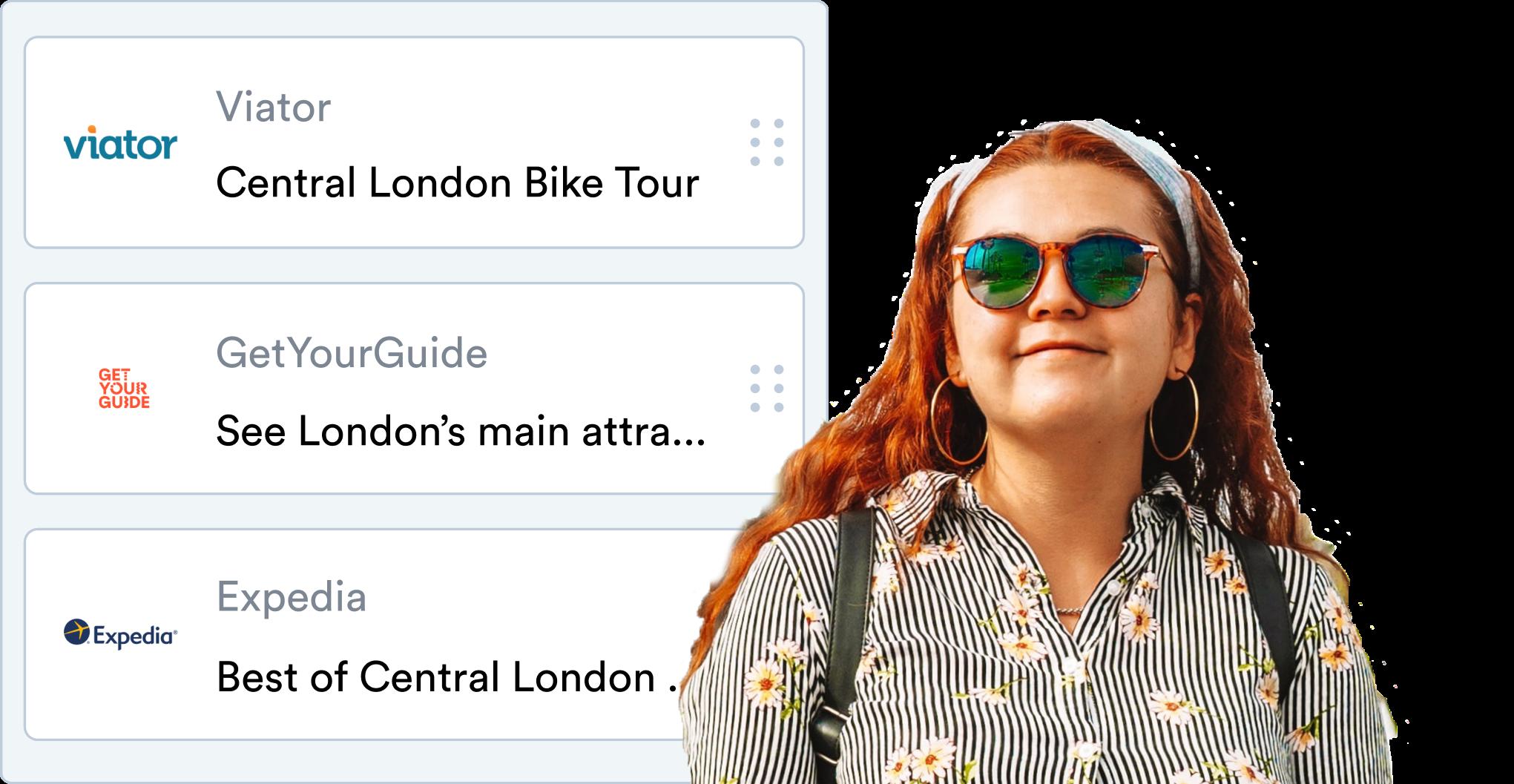 Happy girl with sunglasses overlayed on product showcase image