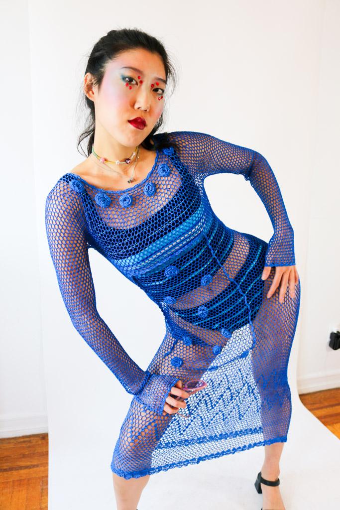 1960's Deadstock Blue Crochet Dress