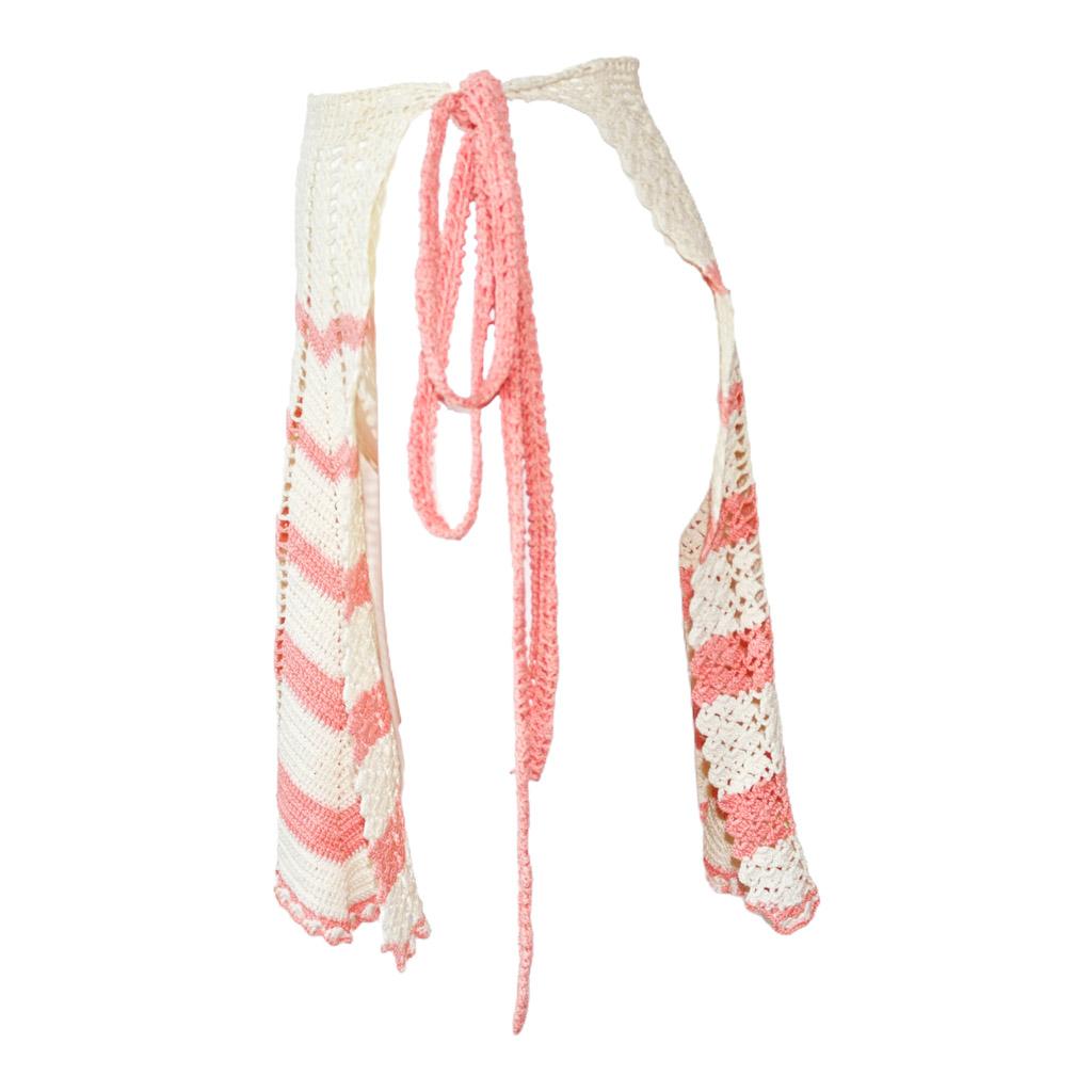 1960's Crochet Candy Stripe Apron