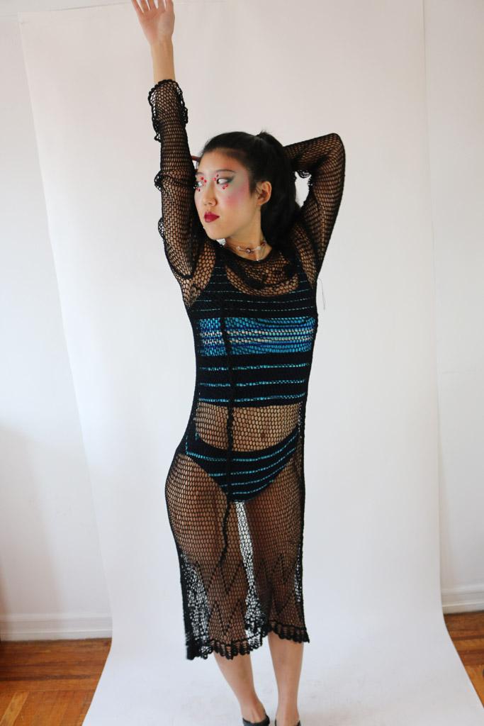 1960's Deadstock Black Crochet Dress