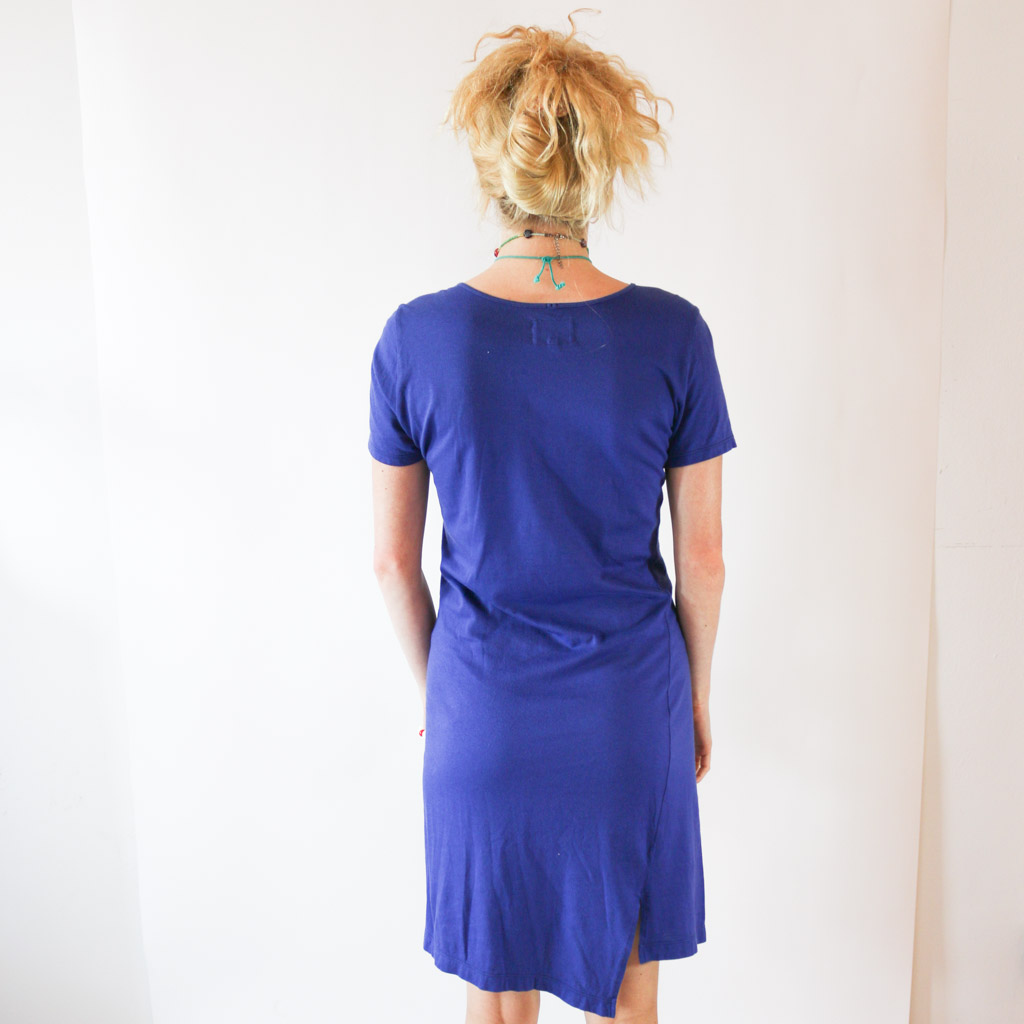 This Vivienne Westwood dress can easily become your favorite go-to. It is no simple t-shirt dress, with it's a-line hem and sassy graphic. The logo, Anglomania, is from Westwood's punk-er collection, starting back in 1993.