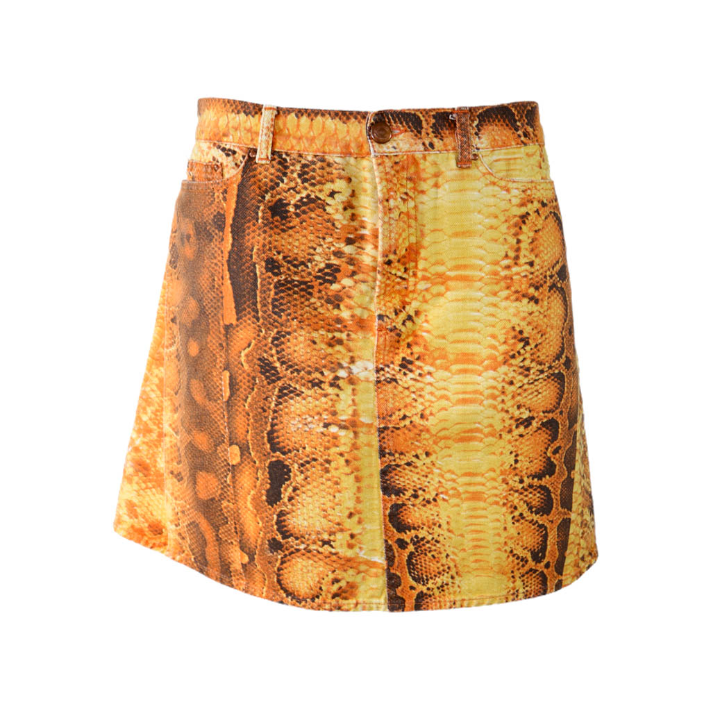 Roberto Cavalli Orange Snake Skirt