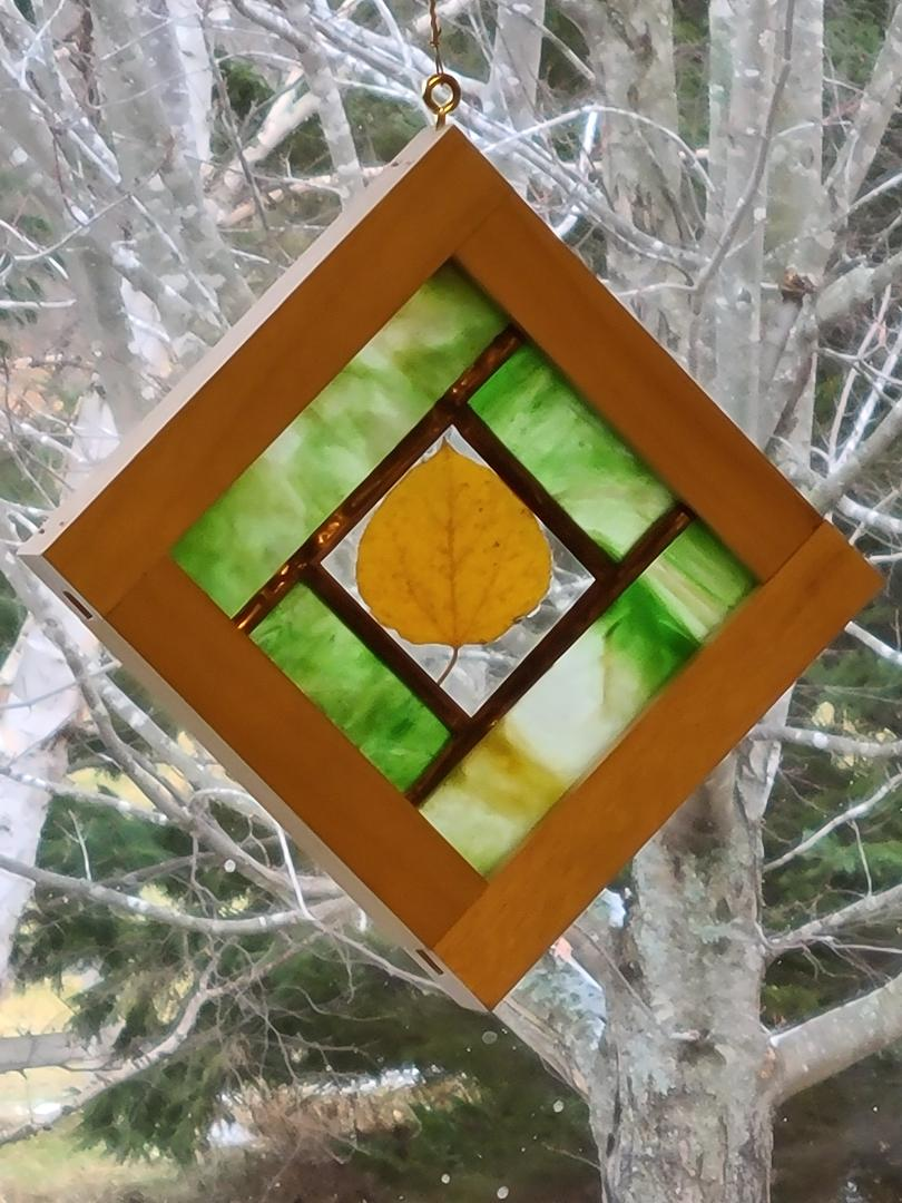 Stained glass with Aspen leaf