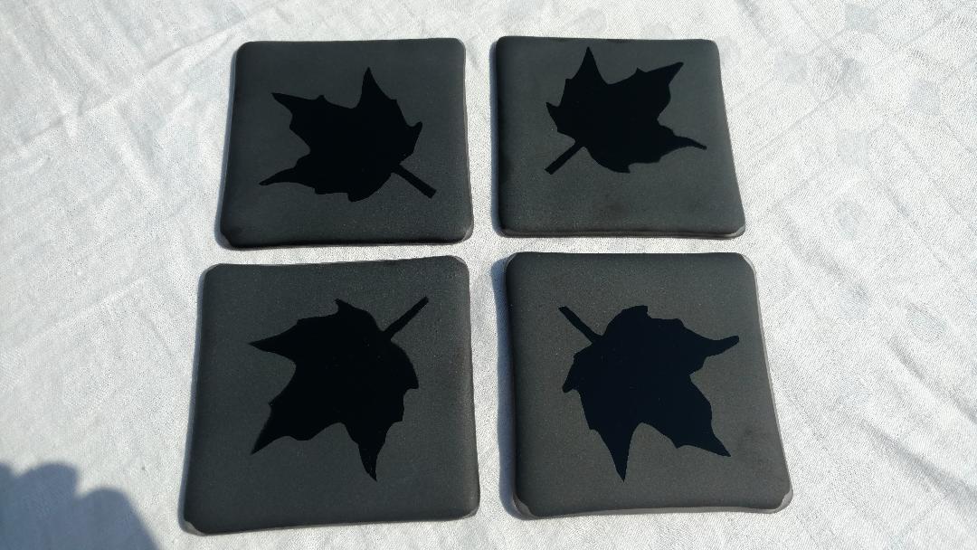 Coasters black maple leaf