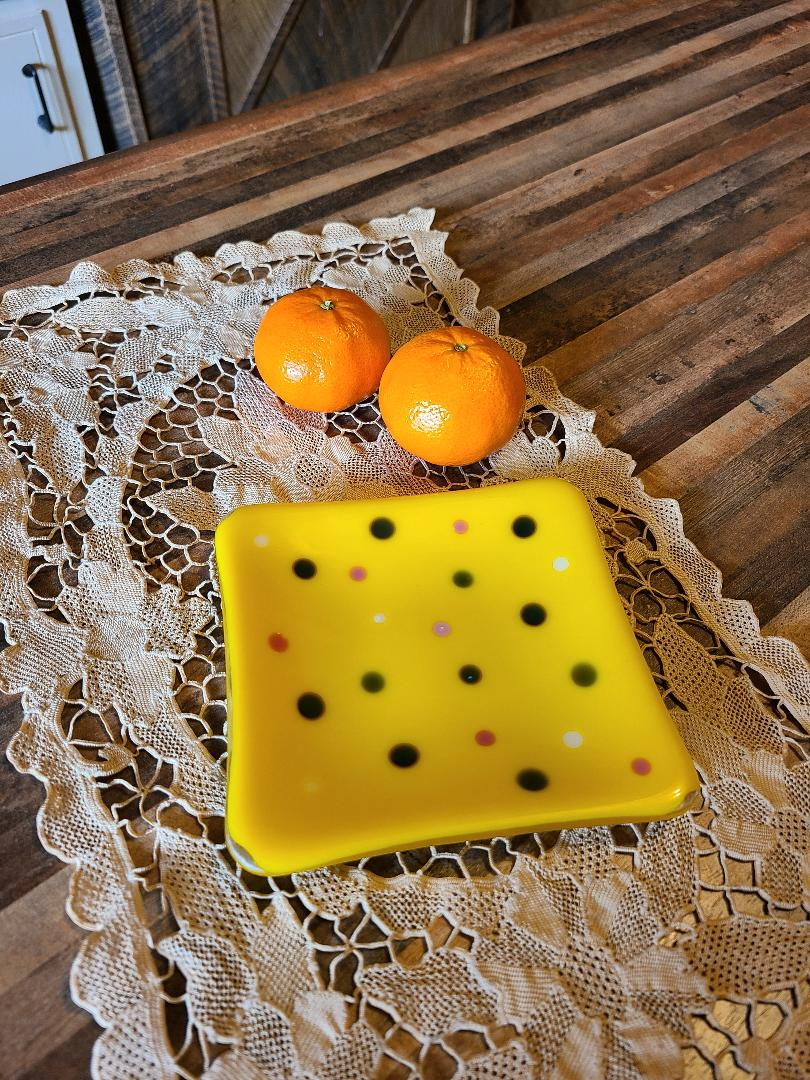 Yellow Polka Dot Trinket Plate