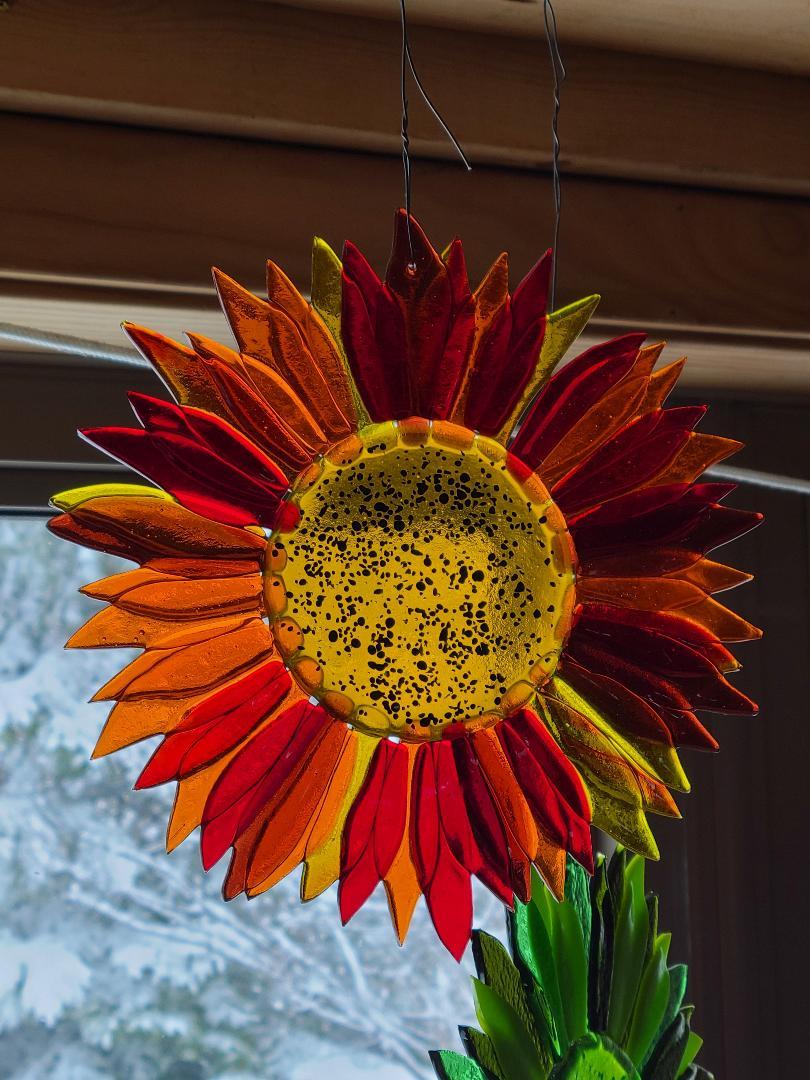 Sunflower - amber, orange, red