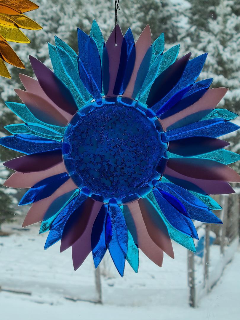 Sunflower in blues