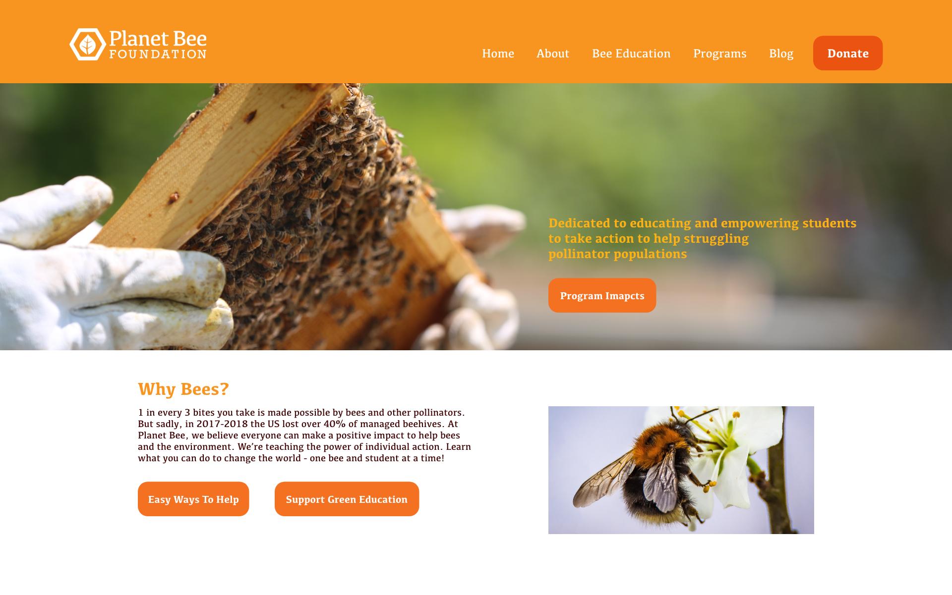 Planet bee website redesign