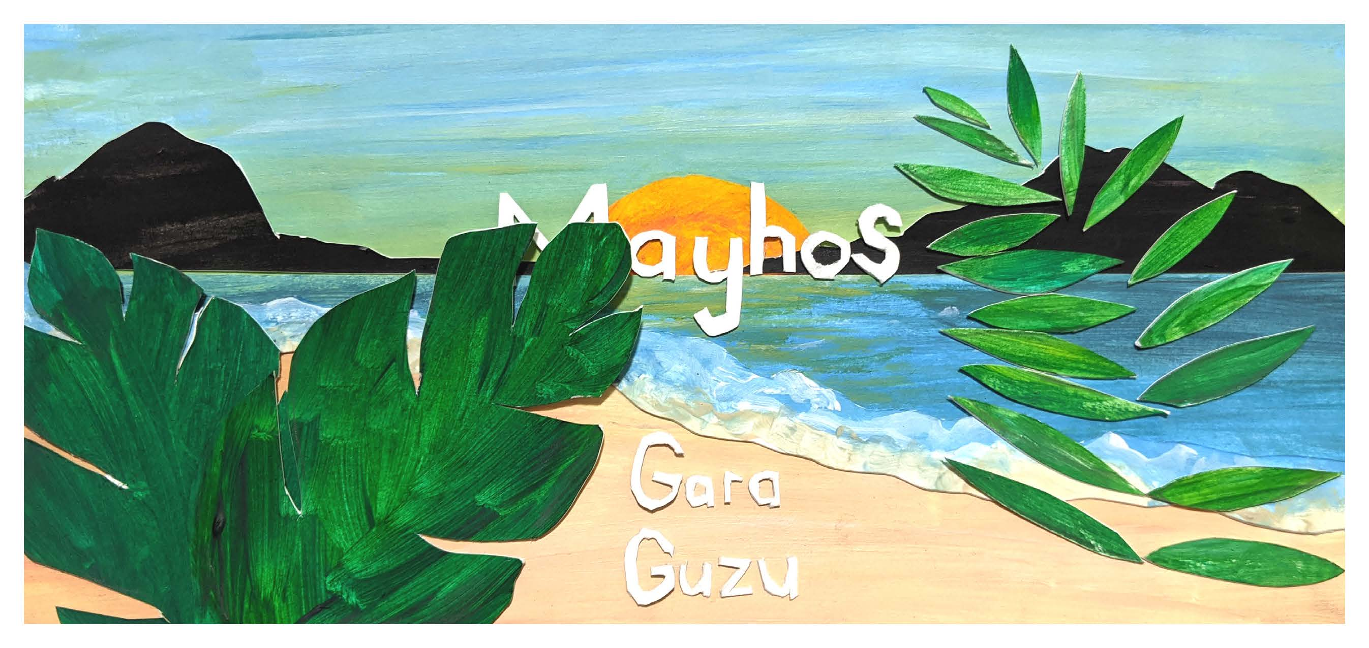 Mayhos beer label, with a sun setting over a beach