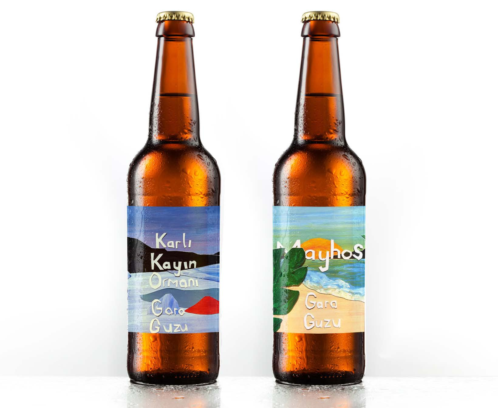 Two beer bottles with illustrated labels