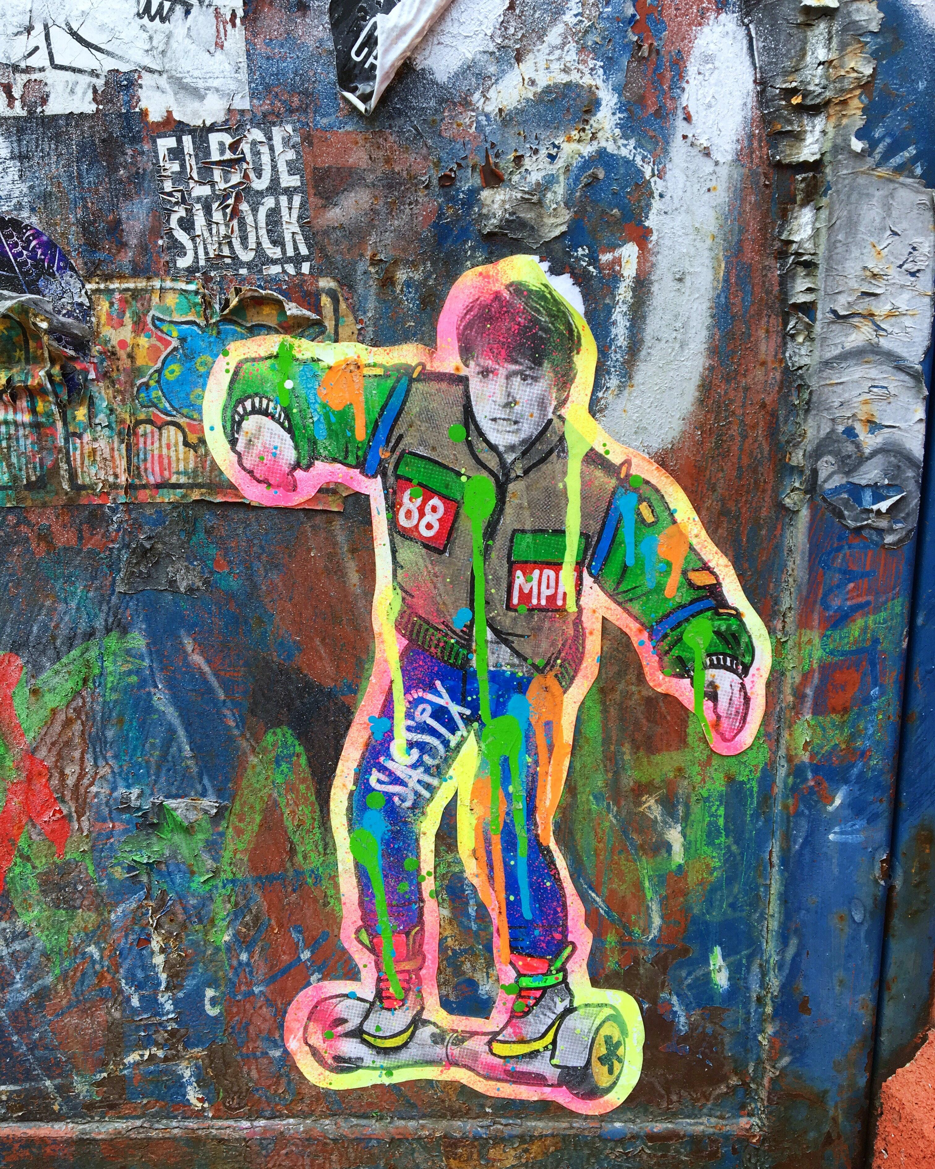 Graffiti painting of Michael J. Fox