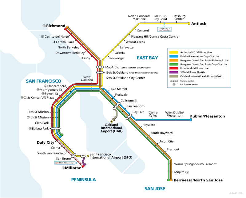 BART San Francisco Transportation Map