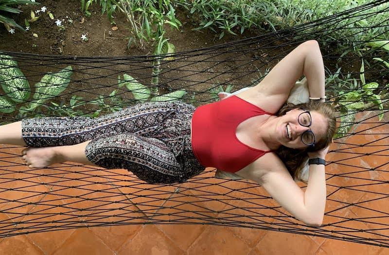 bali relaxing on a hammock