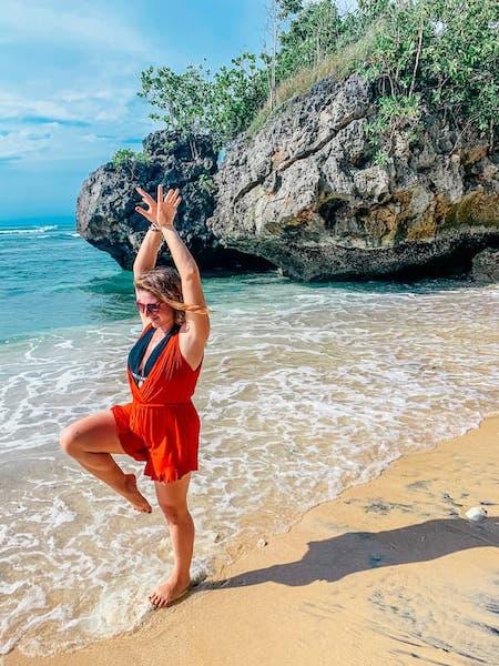 Yoga at Padang Padang Beach in Uluwatu