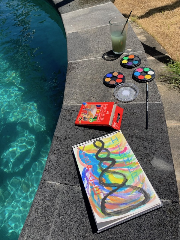 Painting by the pool during Nyepi